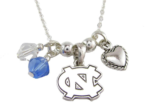 Necklace - North Carolina Tar Heels NCAA Austrian Crystal Silver Necklace
