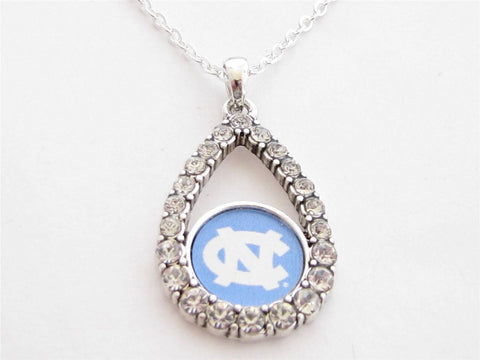 Necklace - North Carolina Tar Heels NCAA Teardrop Clear Crystal Silver Necklace