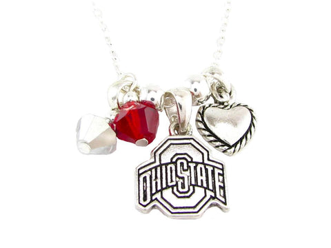 Necklace - Ohio State Buckeyes NCAA Austrian Crystal Silver Necklace