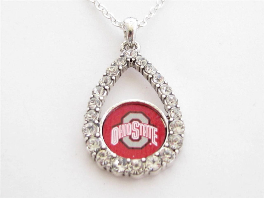 Necklace - Ohio State Buckeyes NCAA Teardrop Clear Crystal Silver Necklace