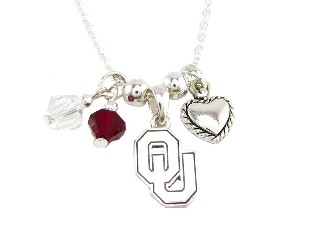 Necklace - Oklahoma Sooners NCAA Austrian Crystal Silver Necklace
