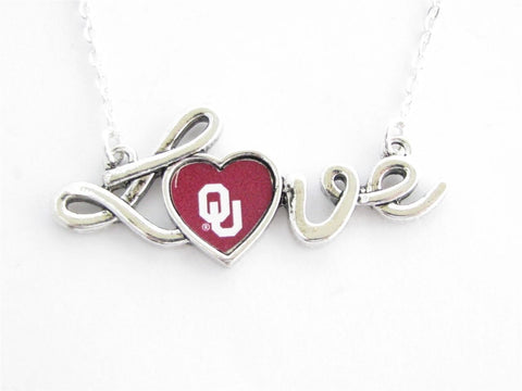 Necklace - Oklahoma Sooners NCAA Love Script Silver Necklace