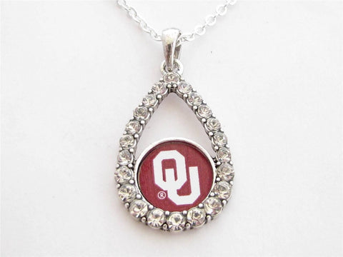 Necklace - Oklahoma Sooners NCAA Teardrop Clear Crystal Silver Necklace