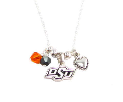 Necklace - Oklahoma State Cowboys NCAA Austrian Crystal Silver Necklace