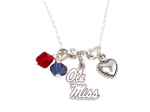 Necklace - Ole Miss Rebels NCAA Austrian Crystal Silver Necklace