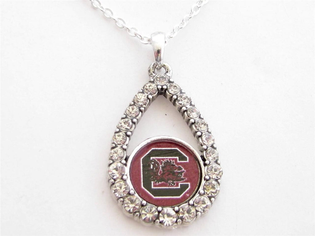 Necklace - South Carolina Gamecocks NCAA Teardrop Clear Crystal Silver Necklace