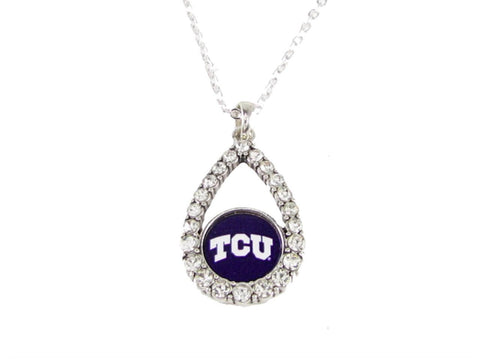 Necklace - Texas Christian Horned Frogs NCAA Teardrop Clear Crystal Silver Necklace