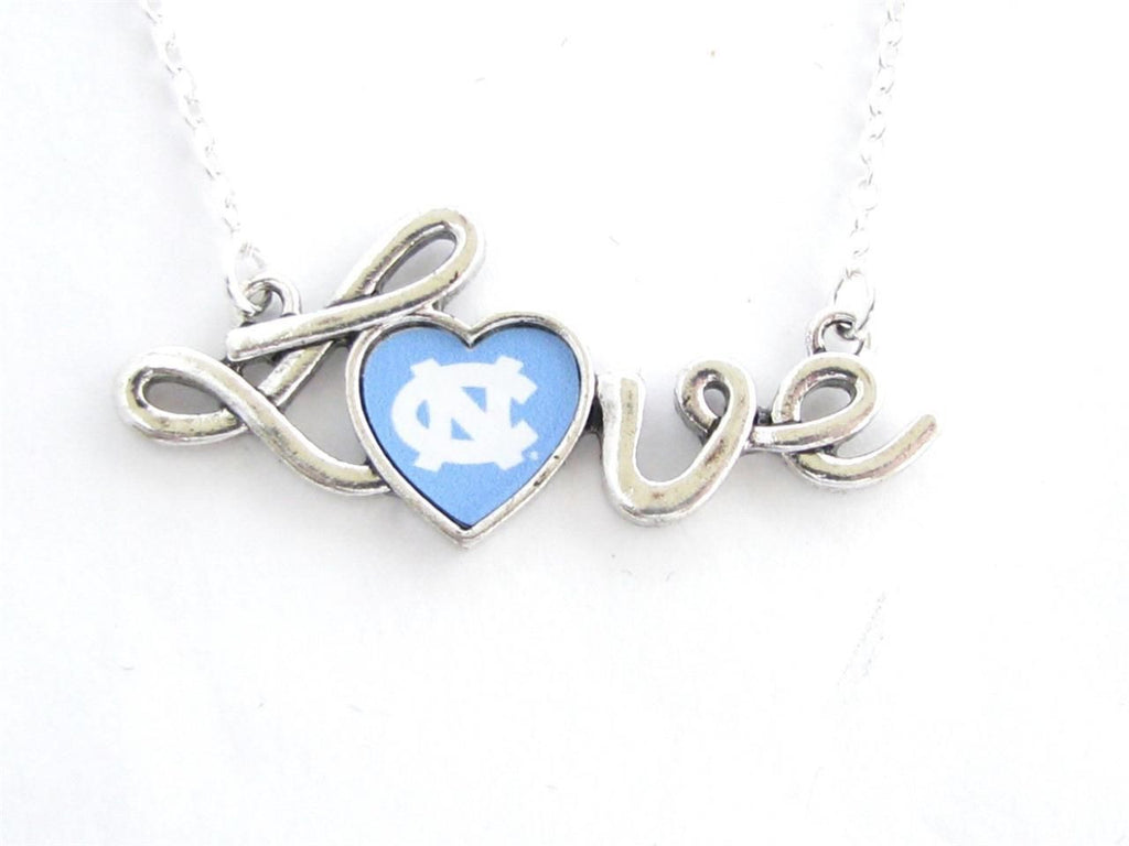 Necklace - UNC Tar Heels NCAA Love Script Silver Necklace