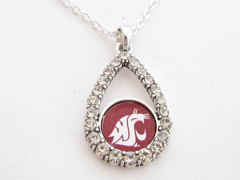 Necklace - Washington State Cougars NCAA Teardrop Clear Crystal Silver Necklace