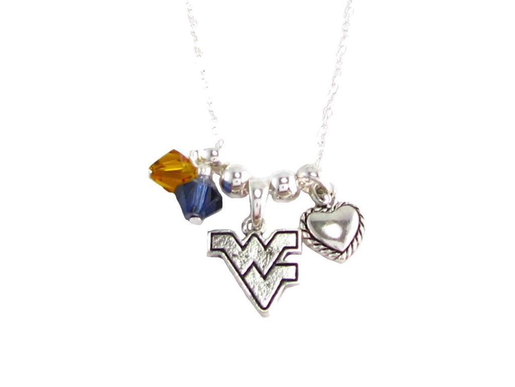 Necklace - West Virginia Mountaineers NCAA Austrian Crystal Silver Necklace