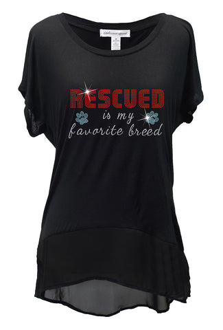 Rescued Is My Favorite Breed Rhinestone Shirt