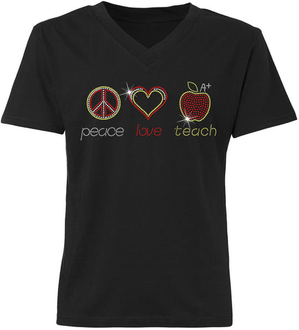 V-Neck - Flat Rhinestone Peace Love Teach V-Neck