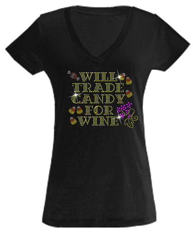 V-Neck - Trade Candy For Wine Rhinestone Shirt