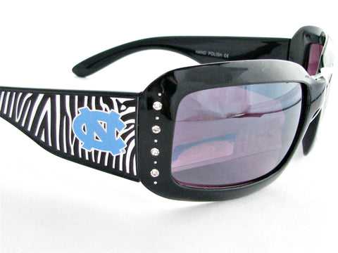 WSunglassses - North Carolina Tarheels NCAA Women's Rhinestone Zebra Print Sunglasses