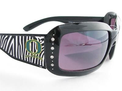WSunglassses - Oregon Ducks NCAA Women's Rhinestone Black Zebra Print Sunglasses