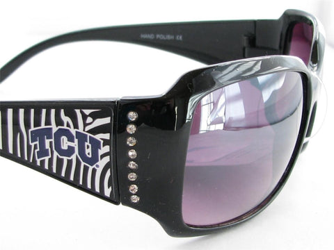 WSunglassses - Texas Christian Horned Frogs NCAA Women's Rhinestone Black Zebra Print Sunglasses