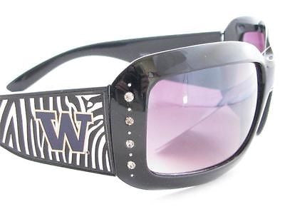 WSunglassses - Washington Huskies NCAA Women's Rhinestone Black Zebra Print Sunglasses