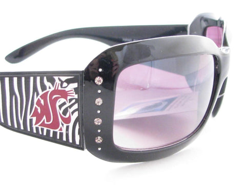 WSunglassses - Washington State Cougars NCAA Women's Rhinestone Black Zebra Print Sunglasses