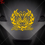 Kymco Ak550 Club Flame Front Decal Yellow