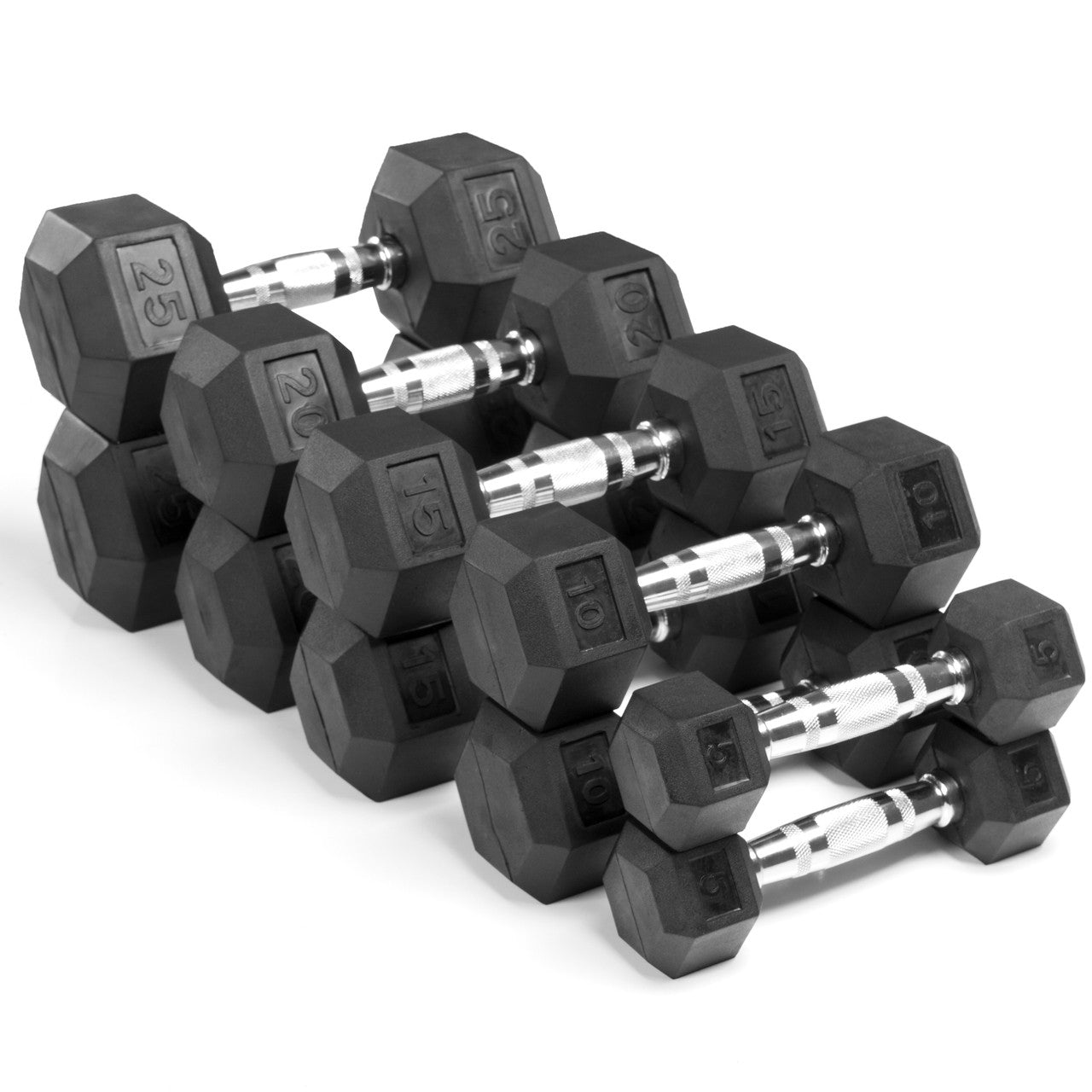 Merveilleux XMark Fitness 5 Lb. To 25 Lb. Rubber Hex Dumbbell Set XM 3301 150S