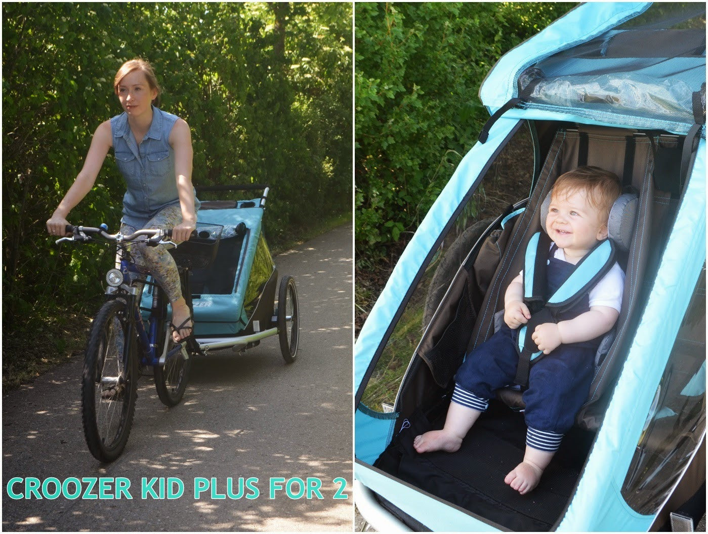 croozer kid plus for 2 bicycle trailer sky blue super. Black Bedroom Furniture Sets. Home Design Ideas