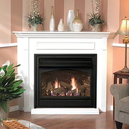 Empire Vail 26 Vent Free Gas Fireplace With White Thermostat Mantel