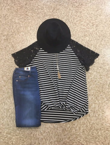 Striped Tee with Lace Sleeves