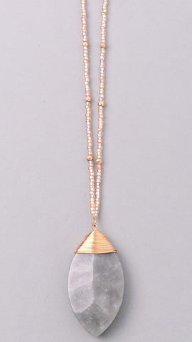 Beaded Gray Stone Necklace