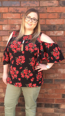 Black & Red Floral Cold Shoulder