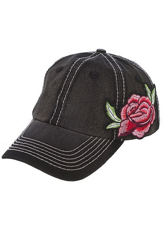 Black Rose Patch Cap