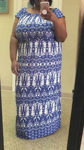 Blue & White Maxi Dress (1x -4x)