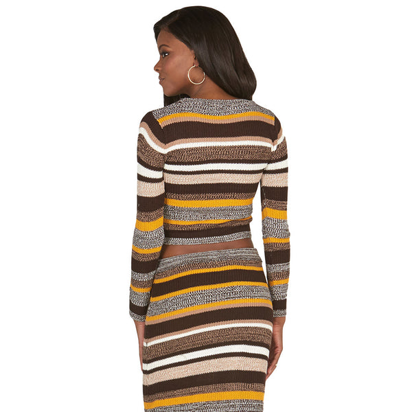 Brown and Mustard Long-Sleeve Striped Knit Crop Top - Citi Trends Juniors - Back