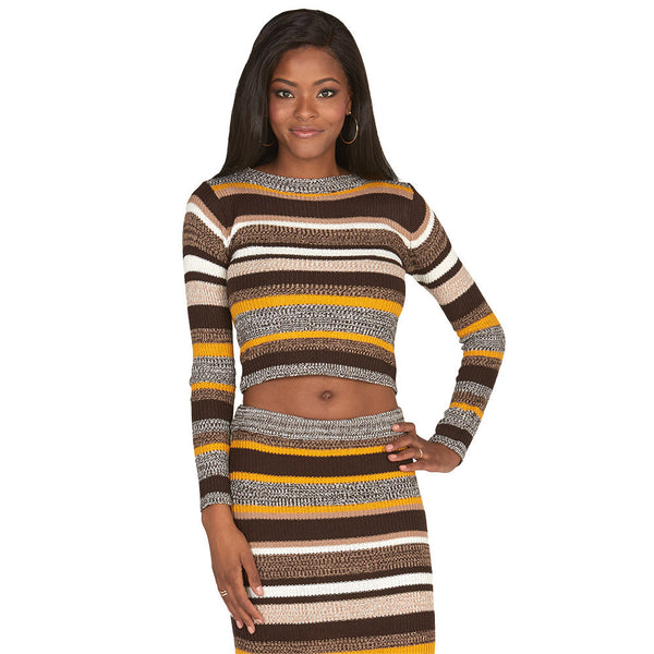 Brown and Mustard Long-Sleeve Striped Knit Crop Top - Citi Trends Juniors - Front