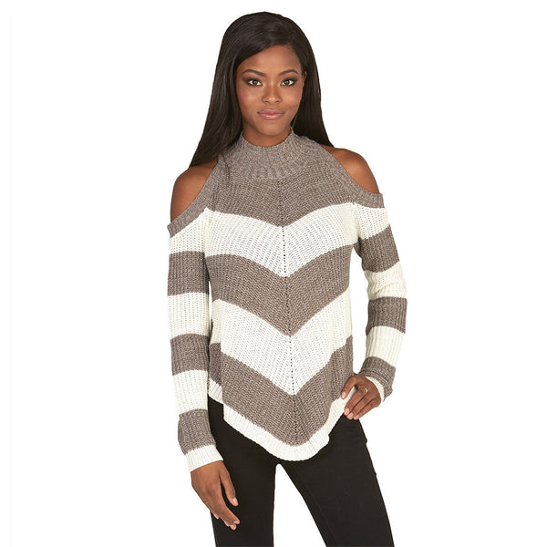 Stripe Right Brown Cold Shoulder Mock-Neck Sweater - Citi Trends Juniors and Plus - Front