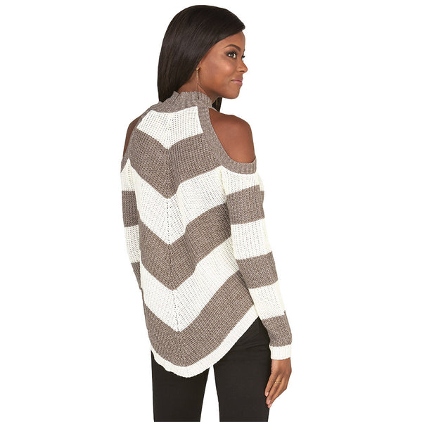 Stripe Right Brown Cold Shoulder Mock-Neck Sweater - Citi Trends Juniors and Plus - Back