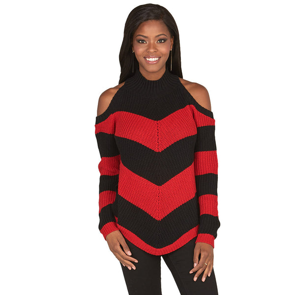 Stripe Right Red Cold Shoulder Mock-Neck Sweater - Citi Trends Juniors and Plus - Front
