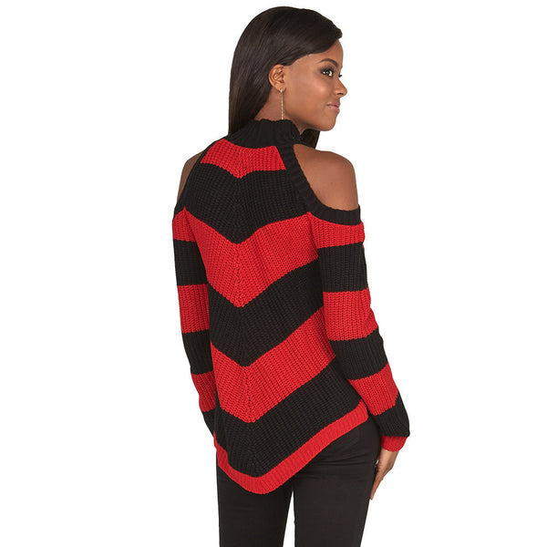 Stripe Right Red Cold Shoulder Mock-Neck Sweater - Citi Trends Juniors and Plus - Back