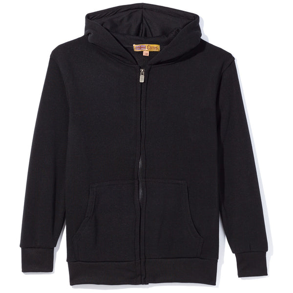 Black Fleece Zip-Up Hoodie - Citi Trends Boys - Front