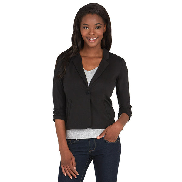 Black Blazer With Ruched 3/4-Sleeve - Citi Trends - Plus - Front