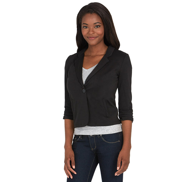 Black Blazer With Ruched 3/4-Sleeve - Citi Trends - Plus - Side
