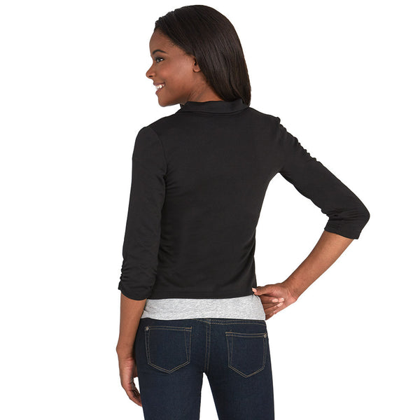 Black Blazer With Ruched 3/4-Sleeve - Citi Trends - Plus - Back