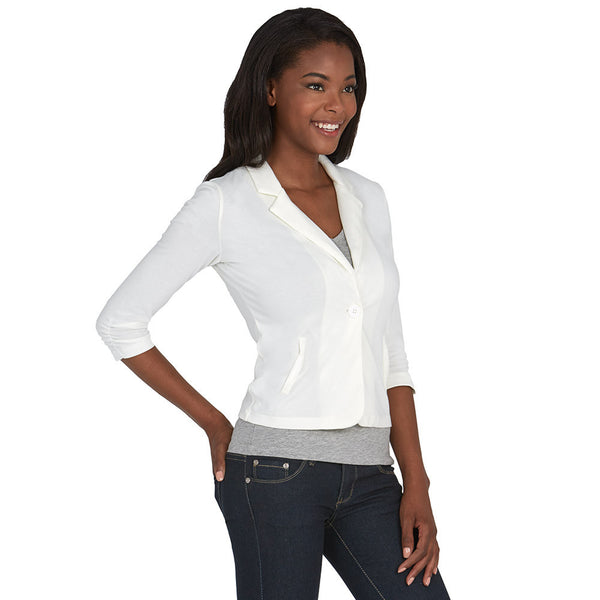 Ivory Blazer With Ruched 3/4-Sleeve - Citi Trends - Plus - Side