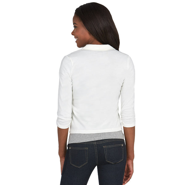 Ivory Blazer With Ruched 3/4-Sleeve - Citi Trends - Plus - Back