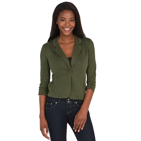 Olive Blazer With Ruched 3/4-Sleeve - Citi Trends - Plus - Front