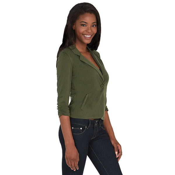 Olive Blazer With Ruched 3/4-Sleeve - Citi Trends - Plus - Side