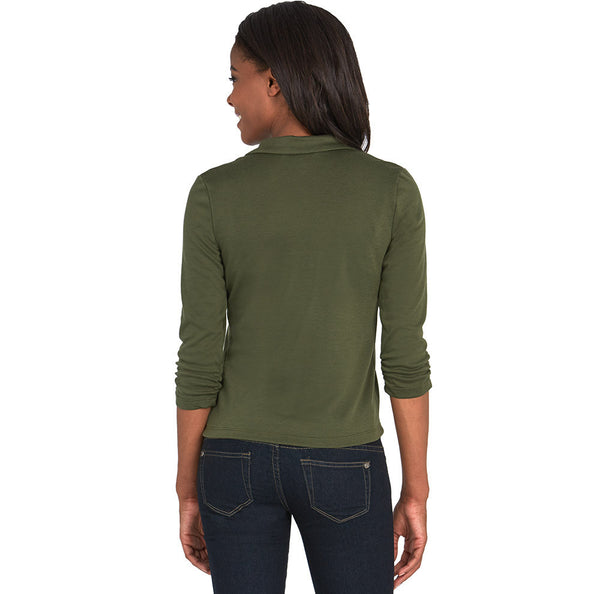 Olive Blazer With Ruched 3/4-Sleeve - Citi Trends - Plus - Back