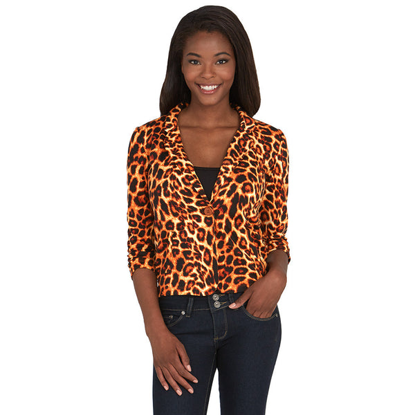 Animal Print Blazer With Ruched 3/4-Sleeve - Citi Trends - Plus - Front