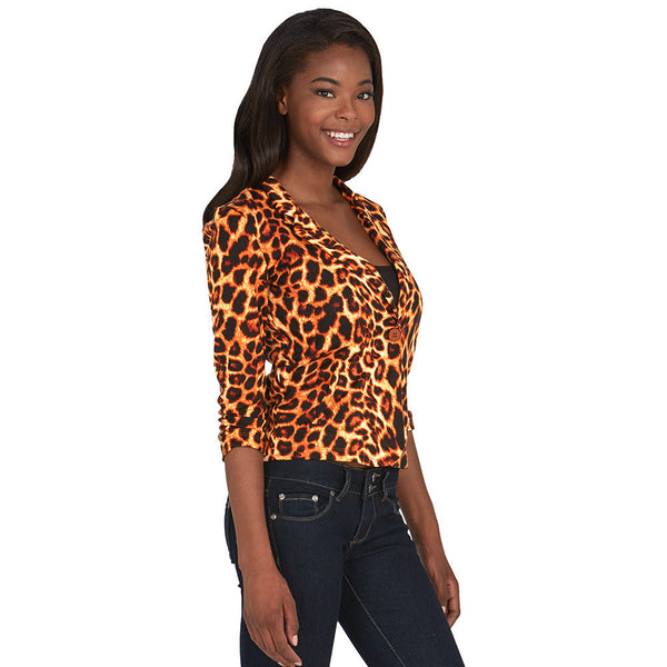 Animal Print Blazer With Ruched 3/4-Sleeve - Citi Trends - Plus - Side
