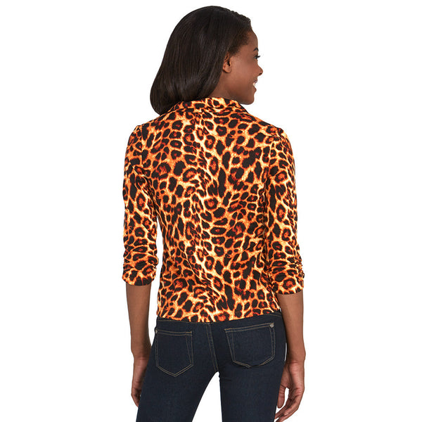 Animal Print Blazer With Ruched 3/4-Sleeve - Citi Trends - Plus - Back