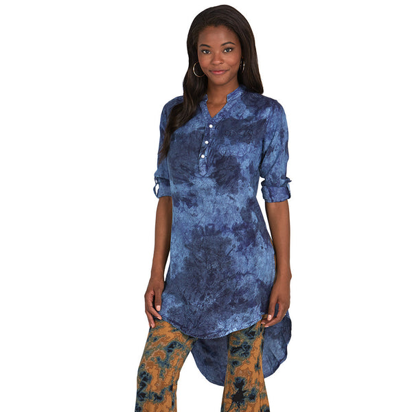 Dark Cloud Wash Denim Maxi Tunic - Citi Trends - Plus - Front